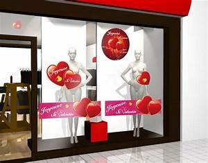 Vitrine Saint Valentin : sticker rond saint valentin 14 f vrier decovitrines ~ Louise-bijoux.com Idées de Décoration