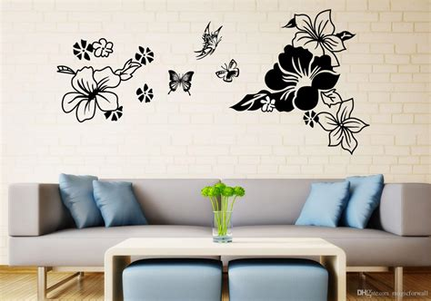 Black Flowers Butterfly Art Decor Headboard Decal Sticker