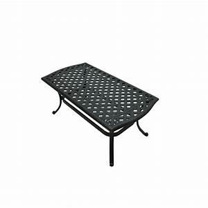 hampton bay belcourt metal rectangle outdoor coffee table With black metal patio coffee table
