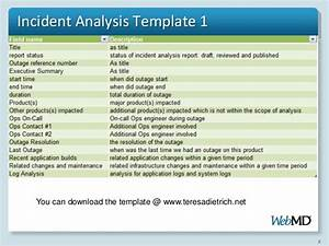 Incident analysis procedure and approach for Incident alert template