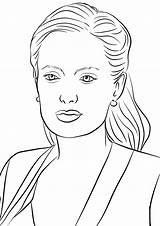 Jolie Angelina Coloring Kleurplaten Oprah Bekende Dibujo Kleurplaat Printable Famous Amerikaanse Actrice Personen Actors Drawing Gwiazdy Pop Drawings Drukuj Template sketch template