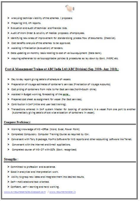 cv  resume samples    ca