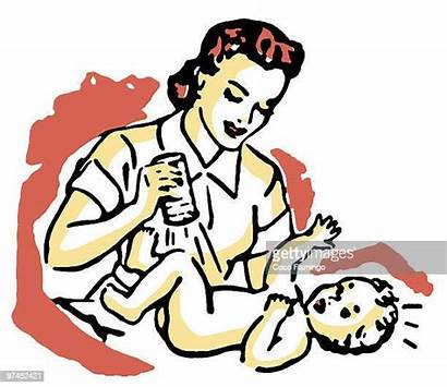 Diaper Changing Change Clipart Mother Young Illustration
