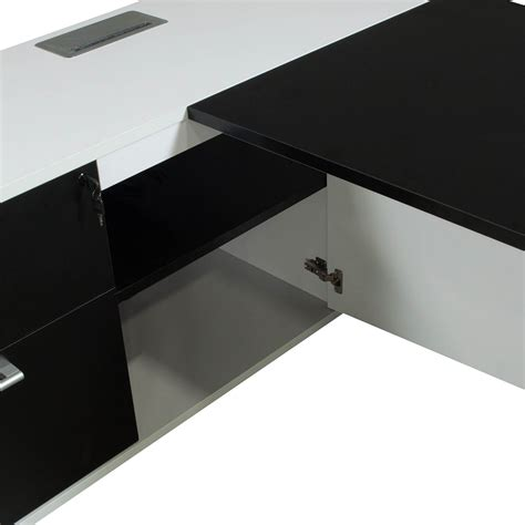 black and white desk l morgan executive left return melamine l shape desk black