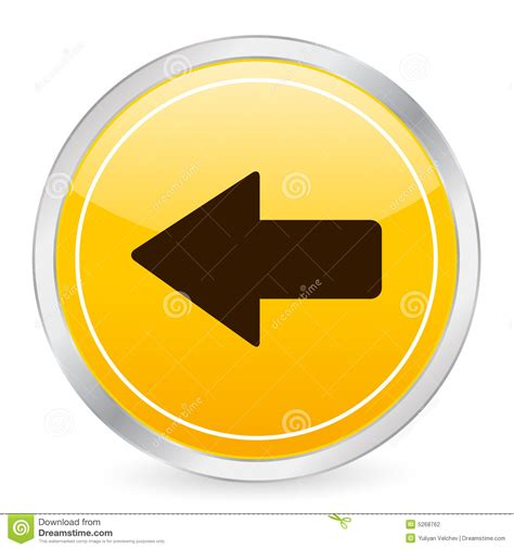arrow left yellow circle icon stock photography image