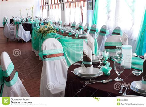deco table turquoise chocolat wedding reception place ready to receive guests stock image image 33660911