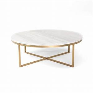 White round marble gold base coffee table for Round marble and gold coffee table