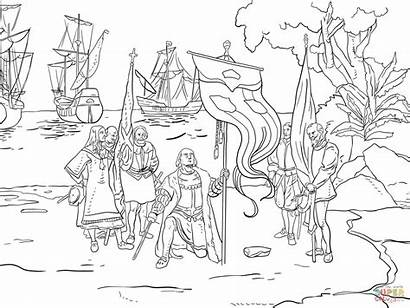 Columbus Coloring Pages Taking Possession Printable Ships
