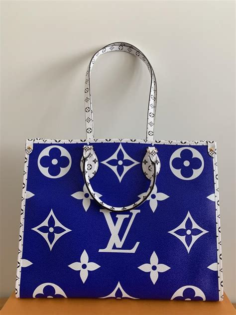 louis vuitton onthego hawaii blue monogram canvaspvc tote tradesy