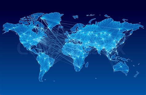 global color world map with nodes linked by lines eps8 cmyk