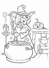 Coloring Halloween Pages Witch Potion Cooking Witches Making Colouring Funschool Printable Procoloring Print Tekeningen Gratis Painting Glinda Disney Happy Little sketch template