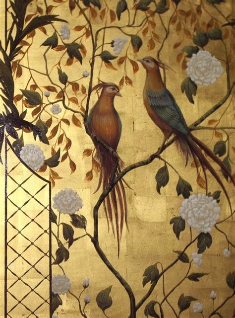 gold leaf wall chinoiserie murals classic oriental painted mural paint asian panels hand chinese decor carat metallic birds secret bird