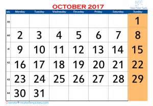 October 2017 Calendar Printable PDF