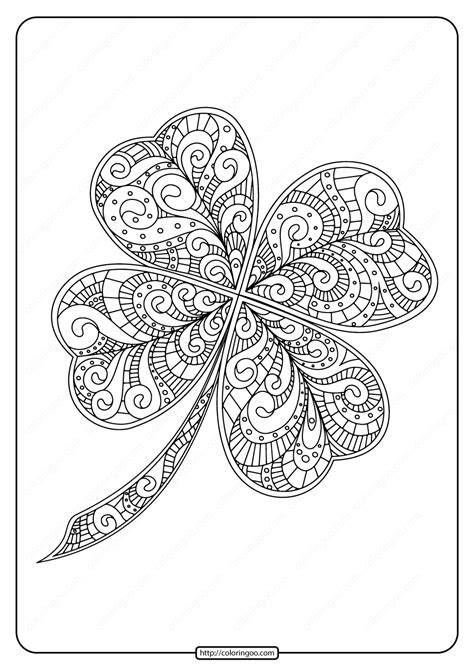printable zentangle  leaf clover coloring page
