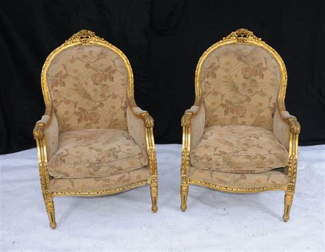 Pair French Regency Gilt Arm Chairs Fauteils Armchairs