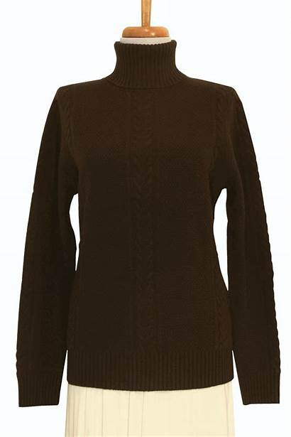 Sweater Turtleneck Cashmere Knit Cable Chocolate Ply