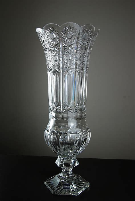 Glass Vase by German Cut Glass Vase By Olbernhauer Vases