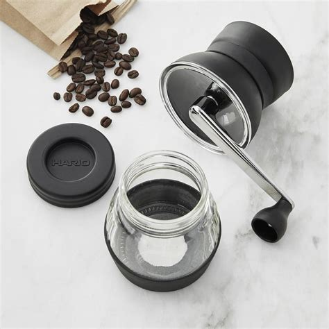 The ceramic burrs do not transfer heat and shave the coffee bean versus cracking the bean like blade grinders. Hario Skerton Ceramic Coffee Mill | Williams Sonoma AU
