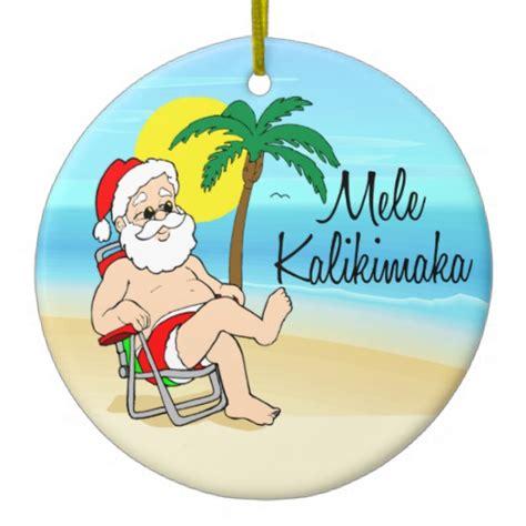 palm tree santa hawaiian christmas ornament zazzle