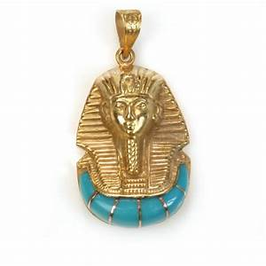 18K Gold Egyptian King Tut with stone pendant - Egypt7000