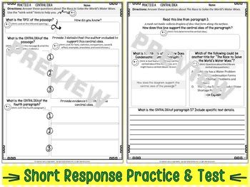 Nonfiction Central Idea Practice Worksheets & Assessment Middle School English