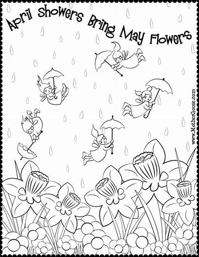 Coloring Showers April Flowers Bring Pages Printable