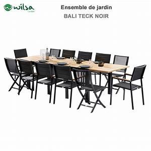 Salon Jardin Teck : salon de jardin bali teck noir 8 12 places f8 c4 ~ Melissatoandfro.com Idées de Décoration
