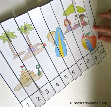 preschool theme number puzzle printable contributed 694 | Preschool Beach Theme Number Puzzle from Preschool Powol Packets at B InspiredMama
