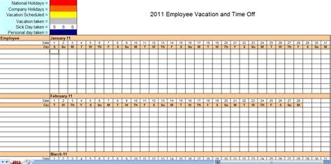 employee vacation calendar vacation calendar