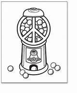 Coloring Peace Gumball Machine Printable Template Gum Sheet Tags Bubble Signs sketch template