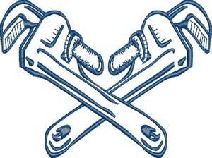 Crossed Pipe Wrenches Clip Art