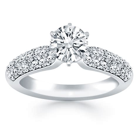triple row pave diamond engagement ring in 14k white gold richard cannon jewelry