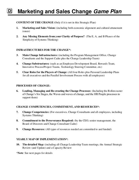 Sales And Marketing Plan Template by Strategic Marketing Sales Plan Template