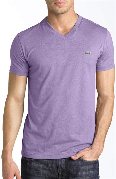 contrast trim sleeve t shirt lyst lacoste v neck tshirt in purple for
