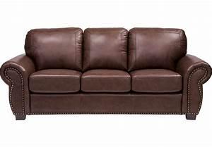 Balencia Dark Brown Leather Sofa - Leather Sofas (Brown)