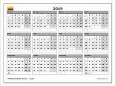 Calendario 2019, Ecuador