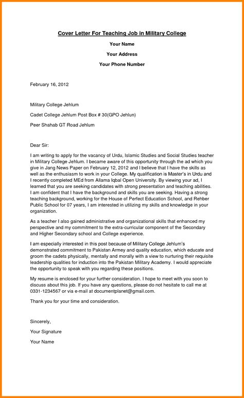 sample  cover letter  teaching position  college