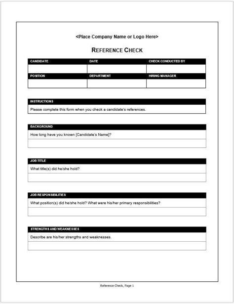 Employment Reference Check Form Template by Employment Reference Check Form Clickstarters