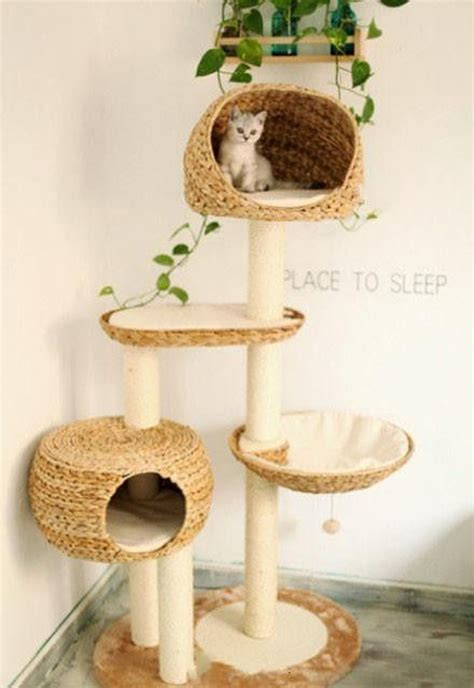 Bedroom Design Ideas - cat tree house with hanging plants