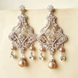 teardrop chandelier earrings chagne pearl bridal earrings chandelier wedding earrings