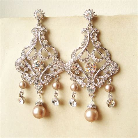Wedding Earrings by Chagne Pearl Bridal Earrings Chandelier Wedding