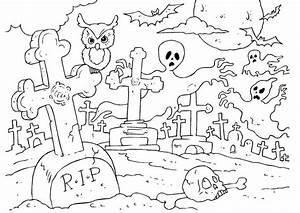 Bilde Fargelegge Halloween Kirkegrd Bil 22989