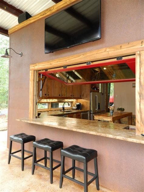 Outdoor bar counter design patio rustic with red window hydraulic window outdoor tv