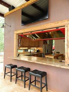 Outdoor bar counter design patio rustic with red window