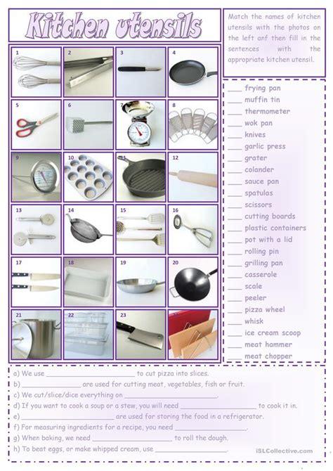 kitchen utensils worksheet  esl printable worksheets
