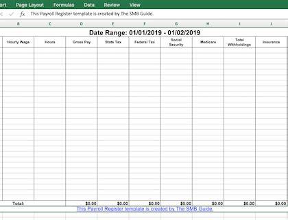 payroll register guide  excel