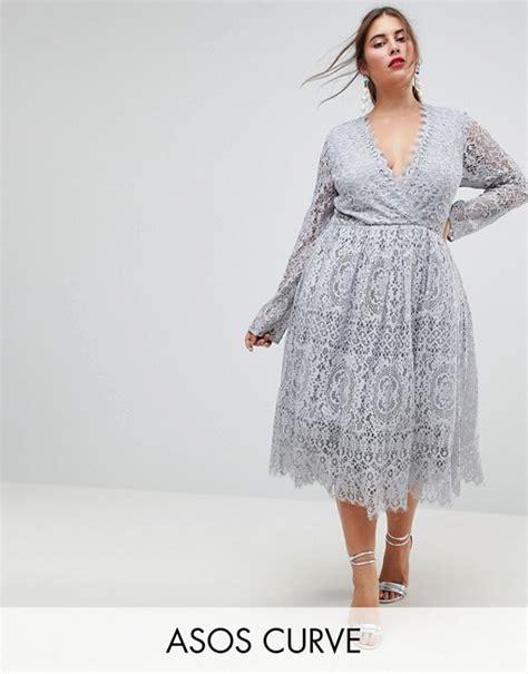 Asos Curve Long Sleeve Lace Midi Prom Dress Asos