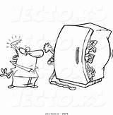 Refrigerator Coloring Standing Outline Cartoon Packed Before Clipart Fridge Toonaday Leishman Ron Vecto Rs sketch template