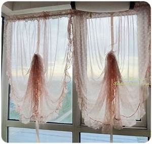 1 ruffle edge polka dot sheer pull up curtain 140x185cm ebay for Pull up curtains how to make