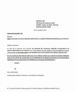 Contestation Fourriere Remboursement : lettre de demande conclusions m dicales apr s de recours gracieux refus aah la mdph du var ~ Gottalentnigeria.com Avis de Voitures